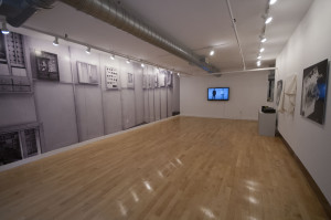 A view of the main gallery at Gallery Kayafas, including most of the HLH installation